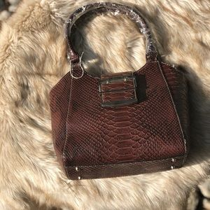 Handbags - Brown Crocodile Imitation Print Purse